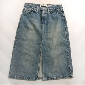 GAP Knee Length Front Slit Denim Jean Skirt sz 1